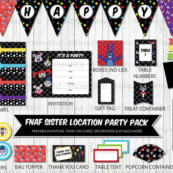 Five Nights at Freddy, Sister Location, Party Pack, Birthday Party Decorations, Circus Baby, Funtime Freddy, Foxy, Ballora, DIY, Checker