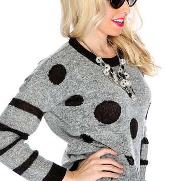 Black Grey Long Sleeve Two Tone Polka Dot Cute Sweater