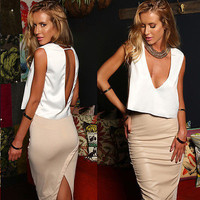 Fashion Sexy Women Sleeveless Backless Shirt Casual Backless Blouse Crop Tops