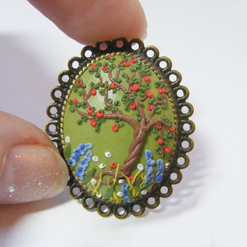 Apple Tree Ring - Handmade Jewelry, Polymer Clay Applique, Flower Ring,Gift for Teacher,Tree of Life Ring