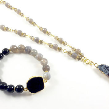 Black Druzy Pendant Necklace, Long Druzy Necklace, Agate Druzy Stretch Bracelet