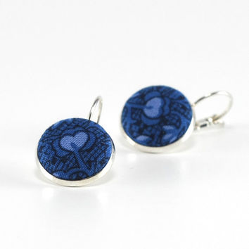 Blue Flowers On Blue Silver Toned Leverback Earrings Cyan and Black Fabric Covered Buttons Jewelry