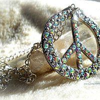 Sparkle Peace Sign Necklace, Hippie, Bohemian,Peace, Ready to Ship, Direct Checkout