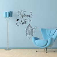 Vinyl Wall Decal Sticker Art - Welcome to our Nest - cute birds and birdcage design