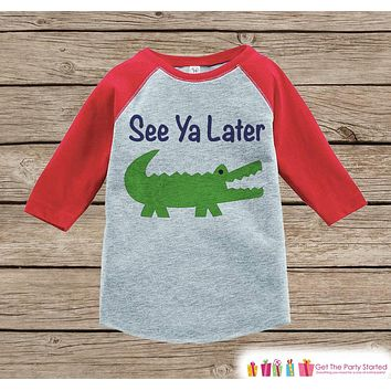 Humorous Boy's Outfit - Alligator Red Raglan Shirt - Funny Baby Boy's Onepiece or Tshirt - Novelty Raglan Tee for Baby Boys, Toddler, Infant