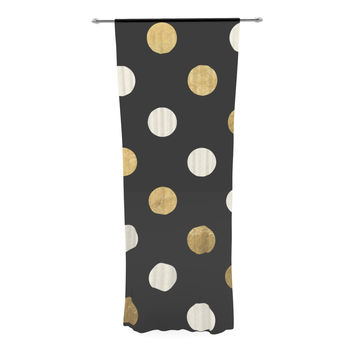 "KESS Original ""Golden Dots"" Black Gold Decorative Sheer Curtain"