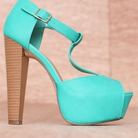 Breckelles High Fashion Hits Faux Leather Buckled T-Strap Peep Toe Pumps Brina-21 - Aqua
