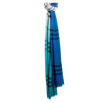 Burberry Women's Ombre Giant Check Silk Scarf Teal