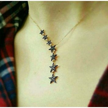 Zirconia Seven Star Lariat Necklace  925 Sterling Silver