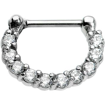 "16 Gauge 5/16"" Surgical Steel Clear CZ Septum Clicker"