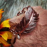 Feather Pearl Chain  Bracelet