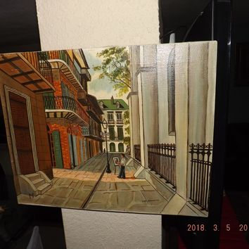 Vintage Lou Bonnette New Orleans FRENCH QUARTER Oil Painting 20th c.
