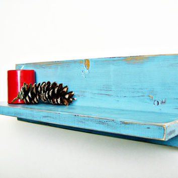 Bathroom Decor - AQUA BLUE - shabby chic, cottage style handmade wood wall shelf