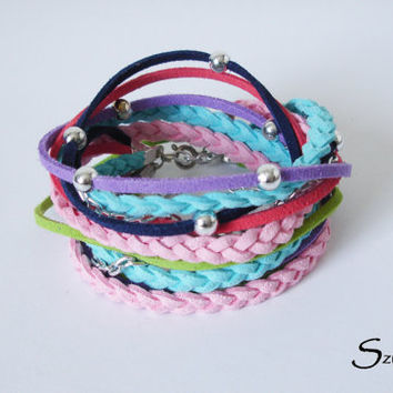 Multicolor Suede Cord Wrap Bracelet,With Silver Accents,Bohemian handmade Jewelry