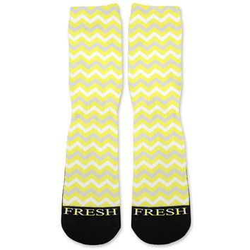 Chevron Yellow Custom Athletic Fresh Socks