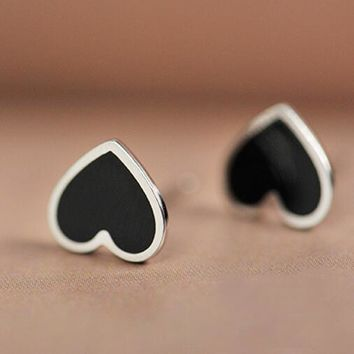 Real 925 Sterling Silver Black Heart Stud Earrings for Women Girls Fashion sterling-silver-jewelry brincos brinco