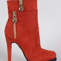 Suede Zipper Trim Almond Toe Heeled Booties