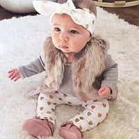 Autumn 3pcs Baby Girl Clothing Rompers Sets Long Sleeve Bodysuit Romper + Love Print Pants +Headband Outfits Set
