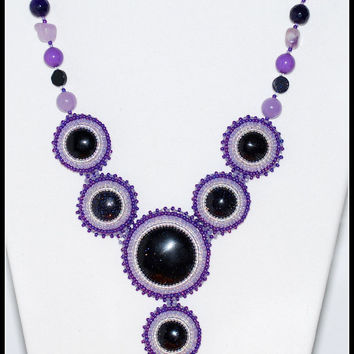 Purple bead embroidery necklace - beaded jewelry - beaded necklace - handmade necklace - beadwork - statement necklace