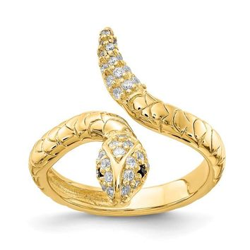 Cheryl M Sterling Silver Gold-Plated CZ Snake Ring