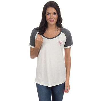 University of South Carolina Vintage Tailgate Tee in White & Heathered Grey by Lauren James