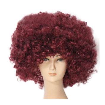 Fashion Afro Cosplay Curly Clown Party 70s Disco Cosplay Wig Cheering Squad Clown   coffee