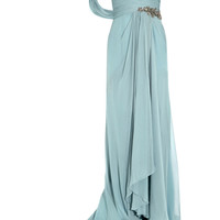 Marchesa - One-shoulder embellished silk-georgette gown