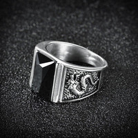 HUCHE Black Sapphire Rhinestone Dragon Mens Silver Tone Steel Band Class Rings
