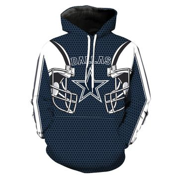 Mens 3D Hooded Dallas Cowboys Hoodie