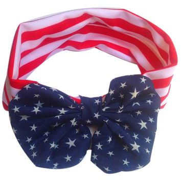 2017 new winter women gril fashion Hot Sale Lowest Price  American Flag Pattern Bowknot Elastic Cloth Headband JUL21