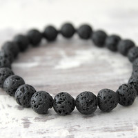 Black Lava Bracelet Mens Bracelet Black Beaded Bracelet Lava Stone Bracelet Unisex Black Bracelet Gift for Man Gift for Him Gifts Under 10
