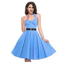 Cocktail Dresses 2016 Halter Neck Polka Dots 50s dress Blue Black Red White Knee length Short Vintage Cocktail Party Dress 4599