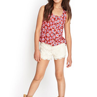 FOREVER 21 GIRLS Buttoned Daisy Tank (Kids) Red/Pink