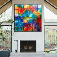 Original Modern Rich Textured Colorful Abstract Painting On Canvas by Henry Parsinia Ready To Hang Large 36x36 IIIIII