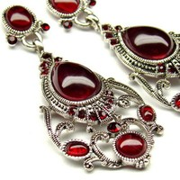 Long Chandelier Earrings,Red Bridal Jewelry,Post Silver Filigree