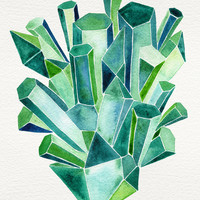 Emerald Watercolor Art Print by Cat Coquillette