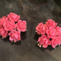Pink Coral Roses Vintage Earrings Vintage Jewelry SALE