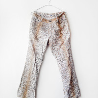 Disco Funky 1980's Leopard tiger printed Bell Bottoms denim Pant (M) - Heavy eighties - Groove Song - Dance