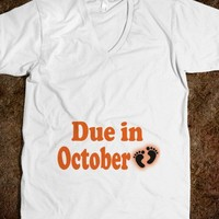 DUE IN OCTOBER - MATERNITY SHIRT (TEXT ON BABY BUMP)