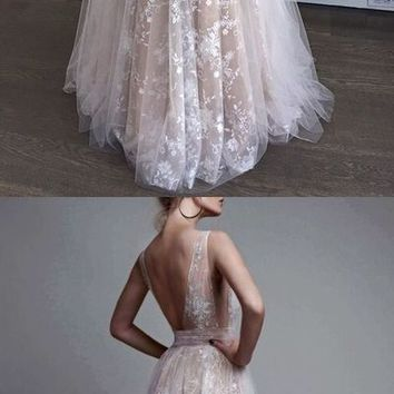 Copy of A Line V NSexy Party Dress ,Champagne A-Line V-Neck Appliques Long Prom Dress,Lace Prom Dresses,Backless Prom Dress J2650