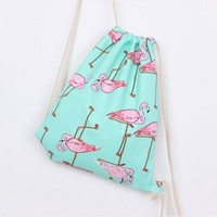 Fashion Women Canvas Backpack Flamingos Printing Bags Small Size Drawstring Travel Shoulders Bag