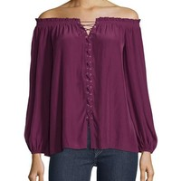 Ramy Brook Jackie Off-The-Shoulder Lace-Up Top, Sangria