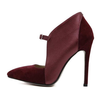 Burgundy Buckle Detail Faux Leather Paneled Stiletto