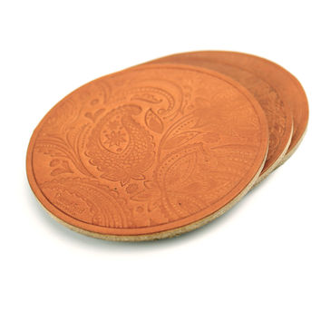 Paisley Leather Coasters - Tan