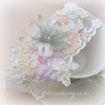 R420 Pastel shade garter - Ombre lace - wedding