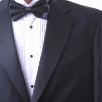 Men`s Single Breasted Two Button Black Super 150s Tuxedo Flex-Fit Waist $69.95