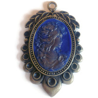Victorian Cameo Pendant, Antique Blue and Gold, Silhouette Necklace, Unique Filigree Cameo Jewelry, Cool Polymer Clay Accessory