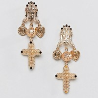Reclaimed Vintage Inspired Baroque Cross Earrings at asos.com