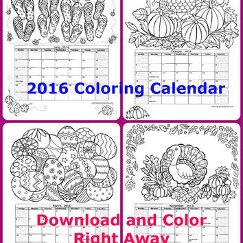 Coloring Calendar - 2016 - 12 Original Hand Drawn Images -- Instant Download