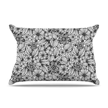 "Julia Grifol ""Candy Flowers In Black"" Gray White Pillow Case"